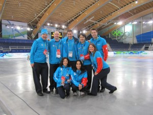 Duane & Timberly with the medical staff at the Richmond Olympic Oval during the Vancouver 2010 Olympic Games