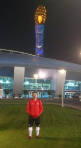 Dan, in front of the Aspire Academy gymnasium complex