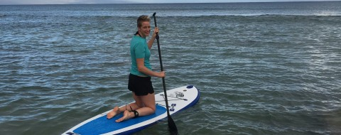Joanne trying stand-up (kneeling?) paddle boarding for the first time!
