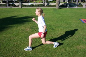 Don't let your knee travel past your toes as you do alternating lunges.
