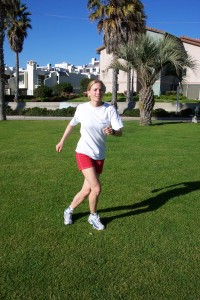 Maintain an athletic stance with hands forward, knees soft and the core switched on.