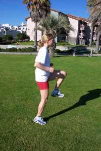 Warm up the hips with high knee marching & skipping